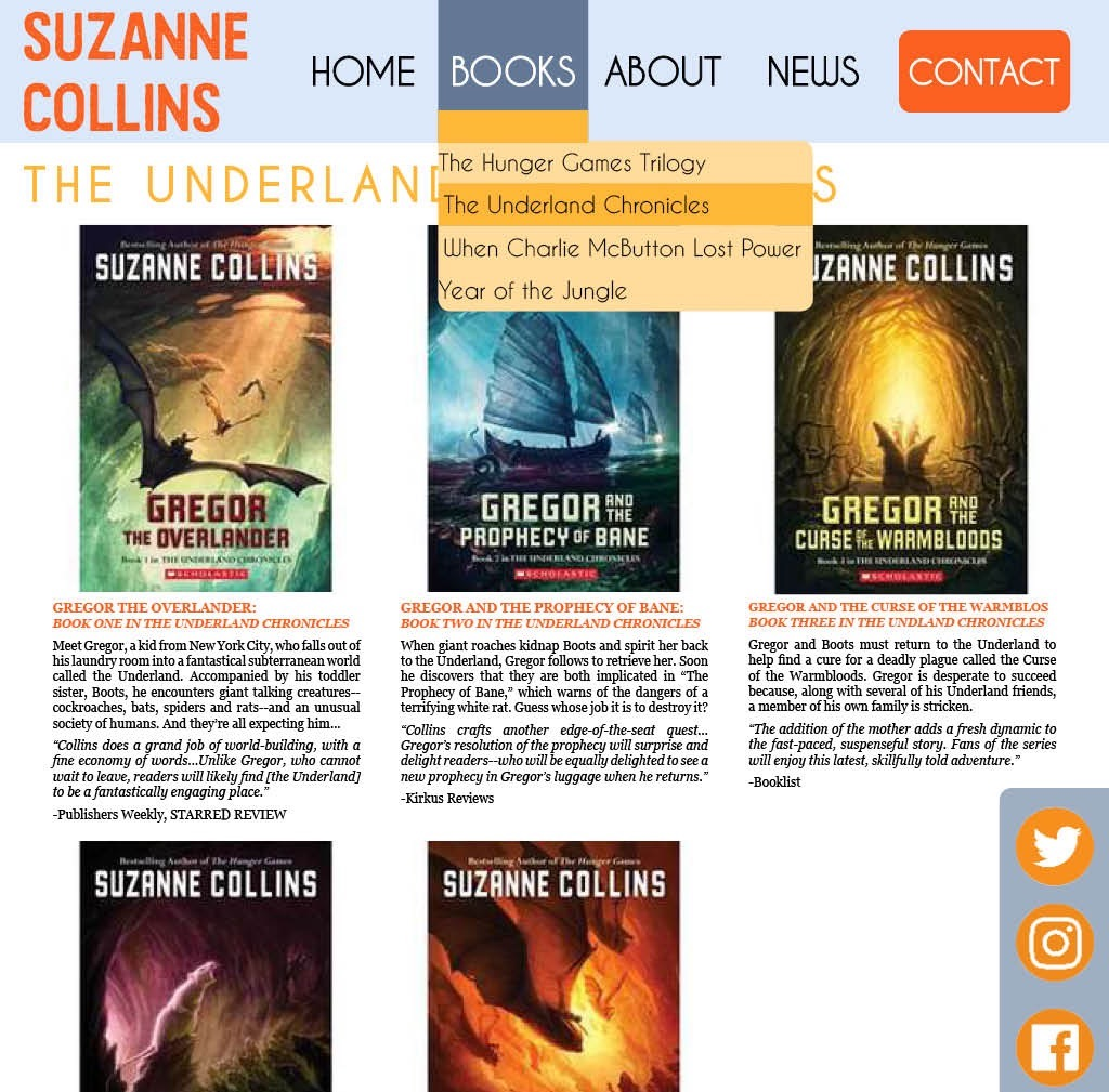 Suzanne Collin's Website Redesign